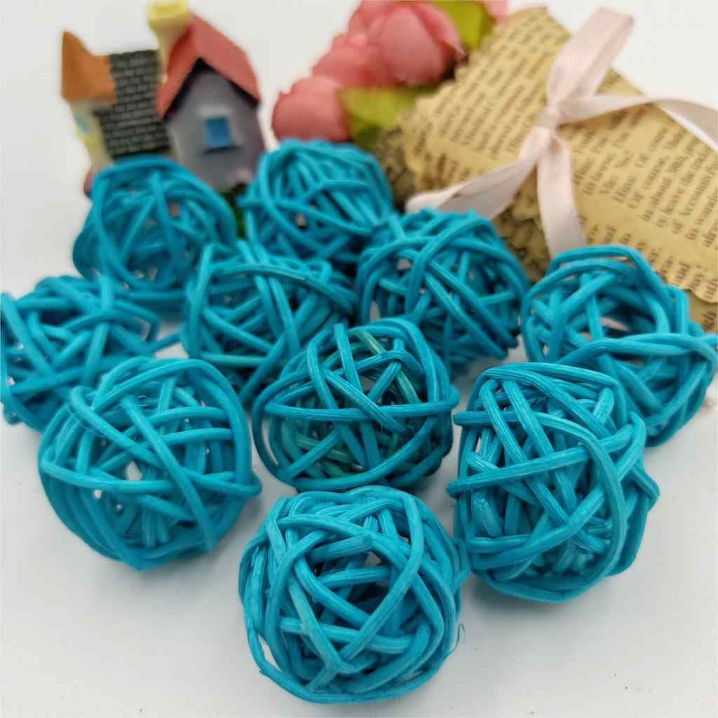 10pcs 3cm Dark Blue Rattan Ball Sepak Takraw for led Lights Garland For el Bar Party/Wedding Room Decor Supplies