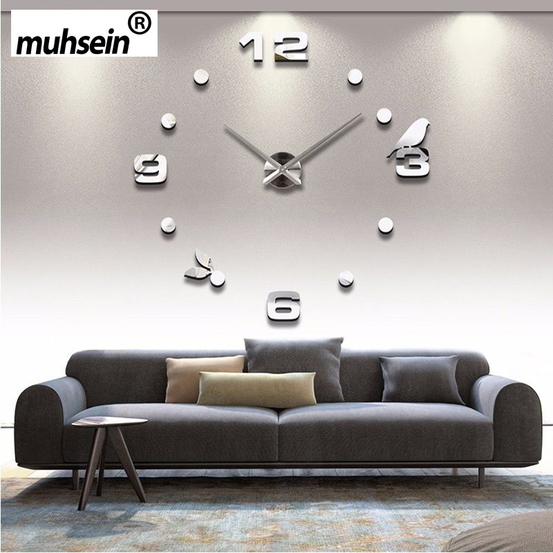 Factory 2017 New relogio  DIY Black Cat bird Quartz Wall Clock Home Decorate clock orologio muro Livingroom Creative Watch Wall