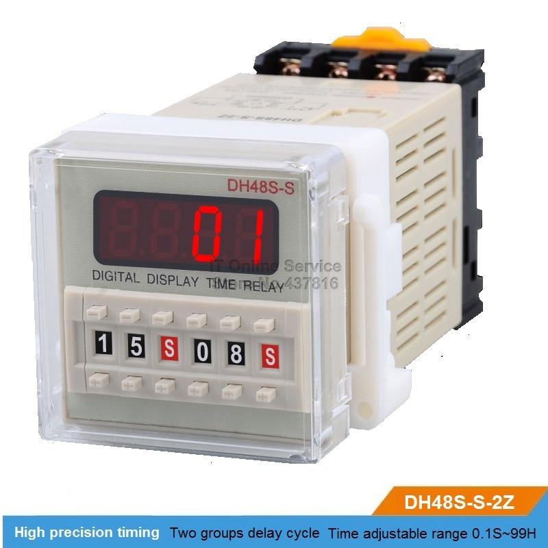 DH48S-S-2Z 220V/12V/24V LED Digital display Time relay Two groups cycle controlling time digital time delay repeat cycle relay timer 1s 99h led display 8 pin panel installed dh48s s spdt dc12v