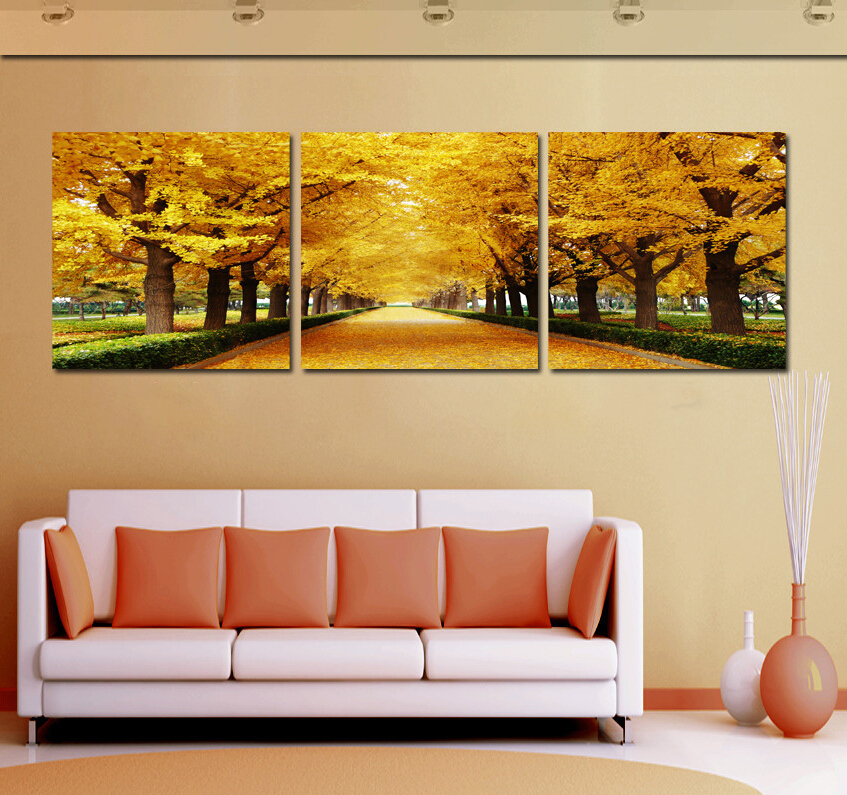 hot sell 3 panel wall art picture money tree two rows of canvas wall painting hang the wall home. Black Bedroom Furniture Sets. Home Design Ideas