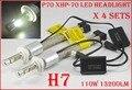 DHL 4 Conjunto P70 110 W H7 LEVOU Farol XHP70 13200LM Chips Fanless Condução Farol de SUPER Branco 6000 K H4 H8 H11 H16 (JP) 9005/6 H13