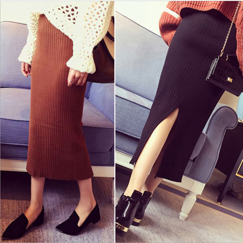 HENGSONG 2018 Autumn Winter Skirts Sexy Chic Pencil Skirts Women Skirt Knit Long Skirt Package Hip Side Slit Skirt maxi