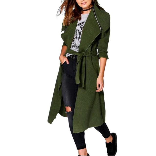 2016 Nueva Moda Otoño Invierno Abrigos Mujeres Trench Coat Abrigo Largo prendas de Vestir Exteriores Más Tamaño manteau femme Increíble Nueva Llegada