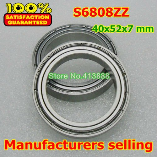 (1pcs) SUS440C environmental corrosion resistant stainless steel deep groove ball bearings S6808ZZ 40*52*7 mm 4pcs lot high quality abec 1 z2v1 stainless steel deep groove ball bearings s6005zz 25 47 12 mm