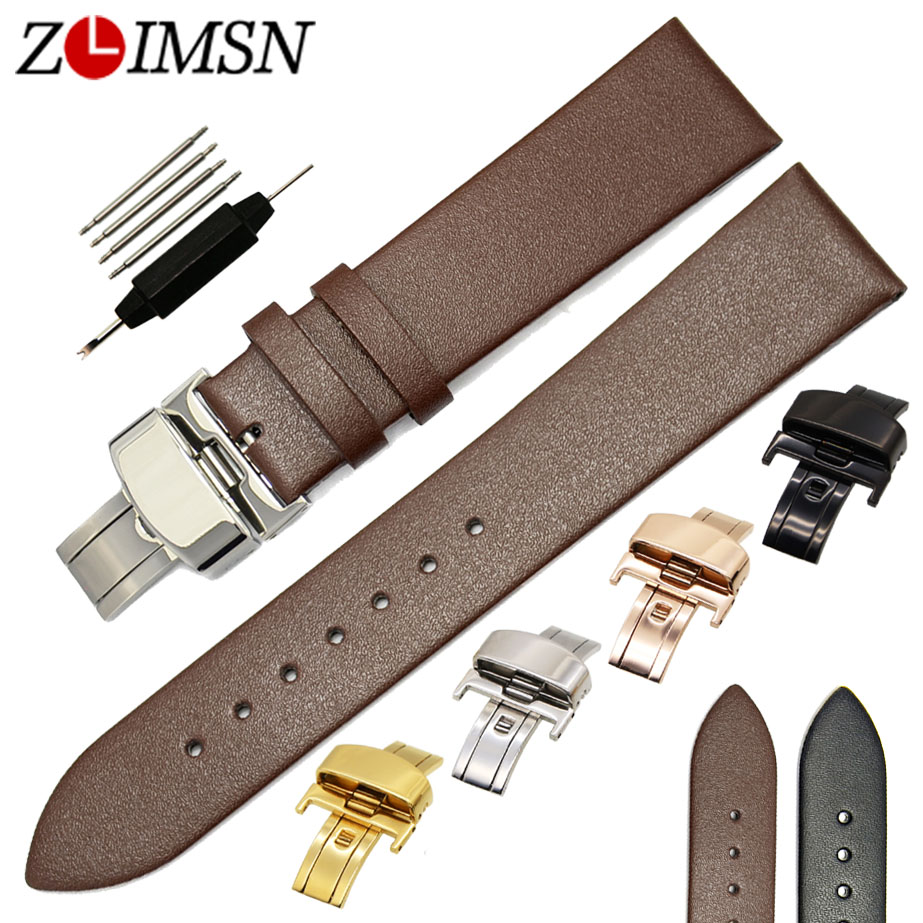 ZLIMSN Genuine Leather Soft Smooth Watchband 18 20 22mm Strap Replacement Black Brown Wristband Butterfly Buckle Relojes Hombre watchbands black brown leather watch strap band genuine soft buckle wrist replacement fits mens relojes hombre 2016 18 20mm 26mm