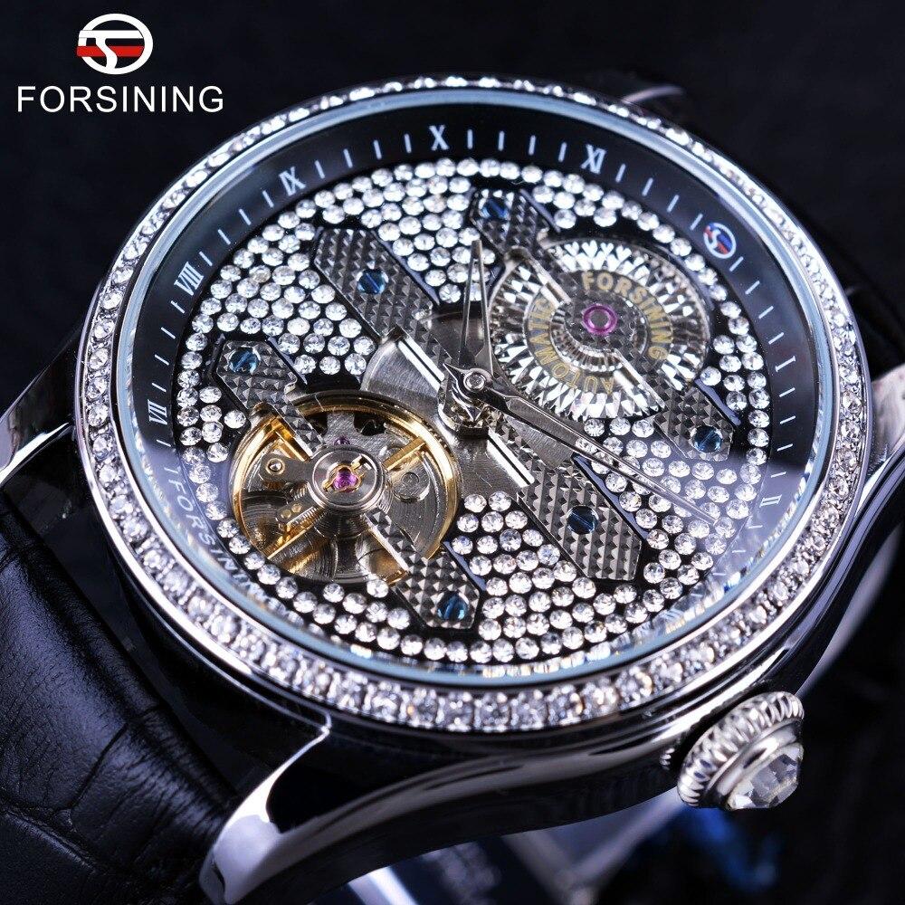 Forsining 2017 Tourbillion Diamond Design Genuine Leather Strap Waterproof Crystal Head Mens Automatic Watches Top Brand
