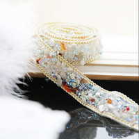 High Quality Pearl Beaded Lace Trim Wedding Dress Clothing Decorative Accessories Iron On The Clothes Or