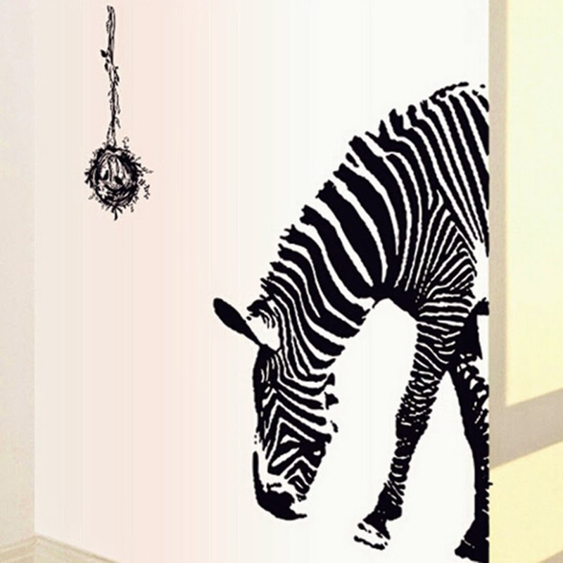Lovely Zebra Print Wall Stickers Part - 13: New Animal Printing Zebra Removable Decal Sitting Kitchen Sofa TV Wall  Stickers Childrenu0027s Rooms Cebra Pegatinas De Pared Hot-in Wall Stickers  From Home ...