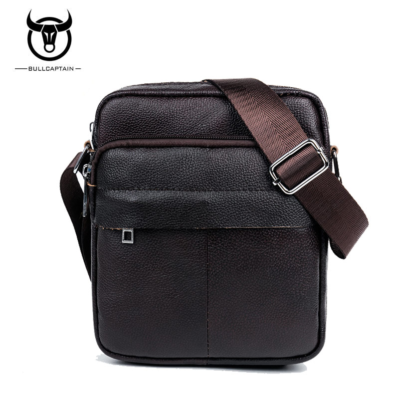 BULL CAPTAIN Genuine Leather small men bag mini fashion men shoulder crossbody bags high quality brand design Man Messenger Bag limited buying mini casual bags multifunction leather messenger bag men s fashion pocket brown brand of small bags high quality