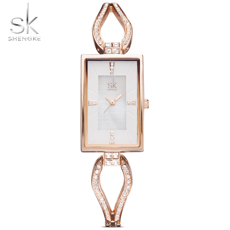 Shengke Brand Luxury Diamond Watch Women Watches Rectangle Dial Bracelet Ladies SK Watch Fashion Rose Gold Women's Watches Clock