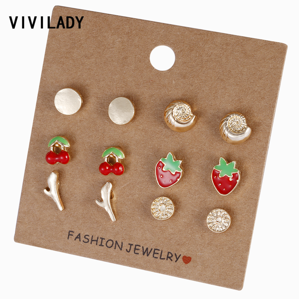 Jewelry & Accessories Earrings Earnest Vivilady New 6 Pairs/set Fruit Stud Earrings Women Gold Color Round Enamel Strawberry Cherry Conch Summer Jewelry Party Gifts