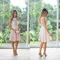 Pink cocktail dress 2017 de encaje blanco vestidos de fiesta cortos de alta cuello applique escarpado volver a line de la gasa hombro cocktail vestidos