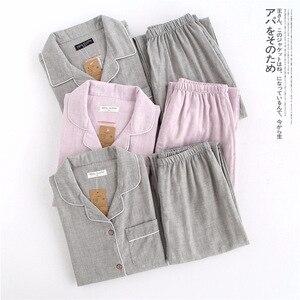 Image 2 - Hot sale Yarn dyed 100% cotton Couples pajamas sets women and men sleepwear long sleeve Fresh soft exquisite pyjamas women