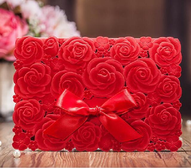 Rote Rose Hohl Hochzeit Invitatioons Kostenlose Personalized