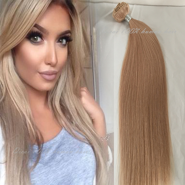 Brasileño de la virgen Del Pelo Clip En Extensiones 100G Clip En Extensiones Del Pelo Brasileño 16 # Blonde Clip En El Cabello Humano extensiones 10 unids