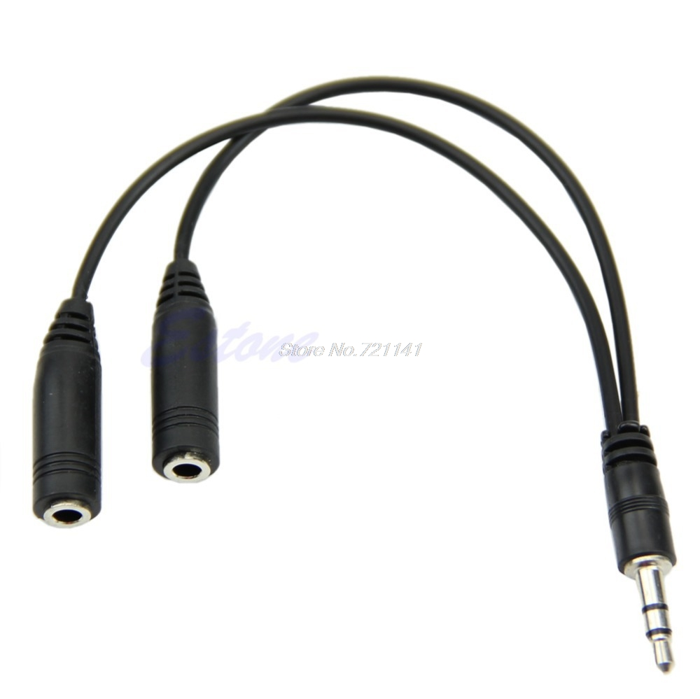 1 PC 3.5mm Male To 2 Dual Female Plug Jack Audio Stereo Headset Mic Splitter Cable Electronics Stocks