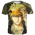Hombres Mujeres Estilo Vintage Impresiones camisetas Clásicas Anime camisetas BLEACH Kurosaki ichigo tees 3D t camisa Masculina Harajuku Tee camisas