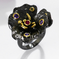 Nice Women Black Rings Elegant Flower Design Setting With Multi Color Cubic Zirconia Zirconia High Quality