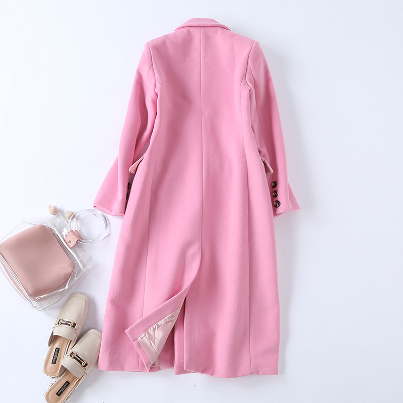 Wool Coat 2019 Winter New Pink Long Coat Women Turn down Collar Double Breasted High Quality Cashmere Coat - 2