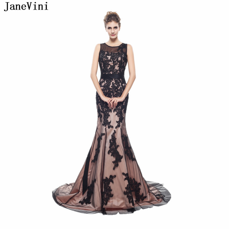 JaneVini Sexy Mermaid Long   Bridesmaid     Dresses   Scoop Neck Sleeveless Appliques Lace-up Back Tulle Sweep Train Formal Party Gowns