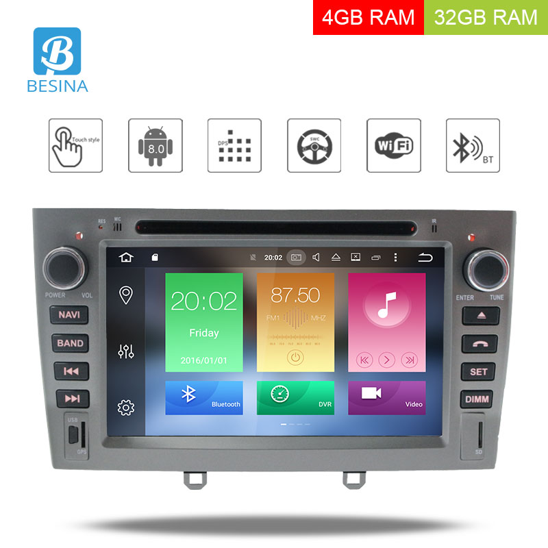 Besina <font><b>Android</b></font> <font><b>8.0</b></font> Multimedia Car DVD Navigation For <font><b>Peugeot</b></font> 408 <font><b>308</b></font> 308SW Autoradio Stereo headunit Octa Cores 2 Din Car Radio image