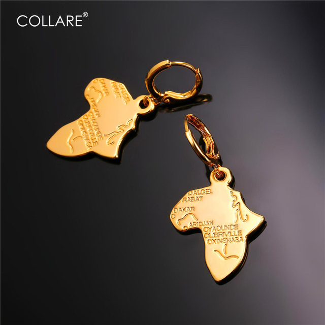 Collare African Map Earrings For Women Rose GoldBlackGold Color