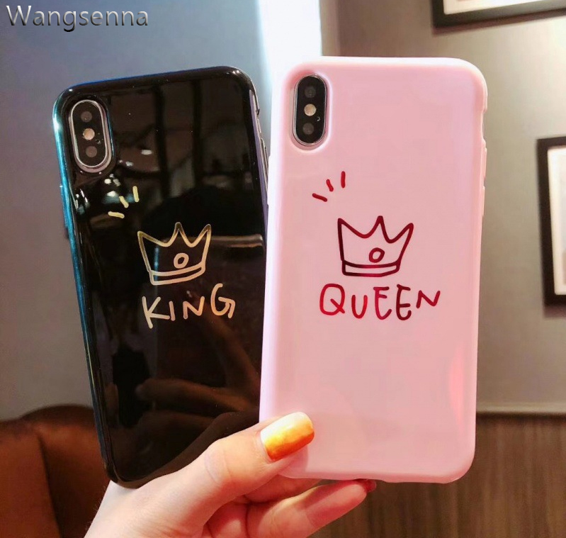 Glossy Crown Phone Case For iphone X Case For iphone 6 7 Plus 6 6S 8 Plus Cute Letter KING QUEEN Soft TPU Couples Back Cover