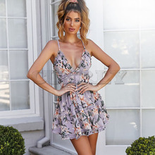 Cotton Spaghetti Strap sundress Women Sweet Heart V Neck Boho Floral Print Mini Dress Frill Trim Magnolia Floral Print DressesL8