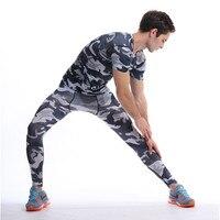 Mens Crossfit Sets Top Pants Camouflage Compression T Shirts Fitness Leggings Tracksuits Rashguard Plus Size GYMS