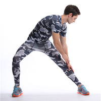 Mens Crossfit Sets Top Pants Camouflage Compression T Shirts Fitness Leggings Tracksuits Rashguard Plus Size GYMS