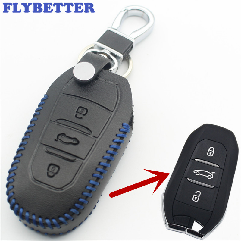 FLYBETTER Genuine Leather Smart Remote Key Case Cover For Peugeot 3008/508/2008 For Citroen C4L/DS6/C6/DS5 Car Styling L80 free shipping zinc alloy leather cover case car styling smart key shell for peugeot 2008 3008 4008 308s 408 508 car remote