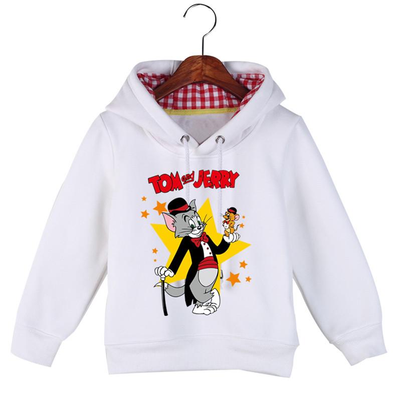 Jiuhehall Good Quality Boy Girl Plus Velvet Sweatshirts Cat and Mouse Print Kids Hooded Hoodie Cotton Children\'s Pullover GCM130 (4)