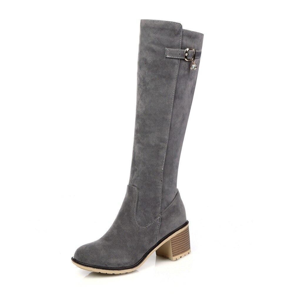 ФОТО Nubuck Leather fashion Buckle women boots Round Toe Square heel Knee-High boots Nubuck Leather Winter Knigh boots big size 34-43