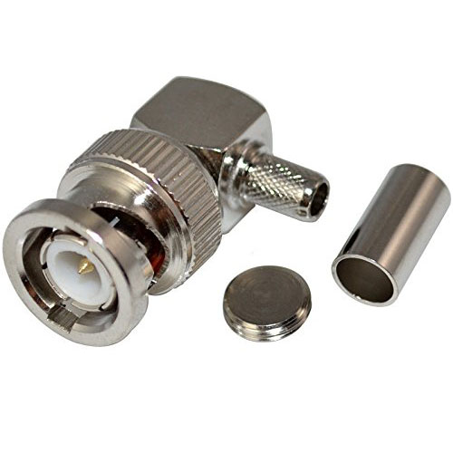 BNC Male Plug Right Angle Crimp for RG58 RG400 RFC195 RF Coax Adapter connector,silverBNC Male Plug Right Angle Crimp for RG58 RG400 RFC195 RF Coax Adapter connector,silver