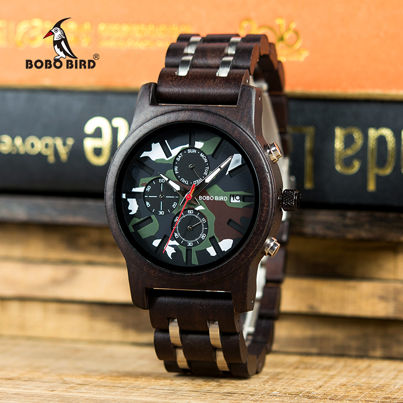 BOBO BIRD Men Wooden Watches Luxury Stylish erkek kol saati Week Display Wristwatches Military Chronograph With