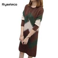 Ryseleco Winter Women Fashion Wave Striped Straight Knitwear Tunic Dresses Female Loose Plus Size Casual Panels Sweater Vestido