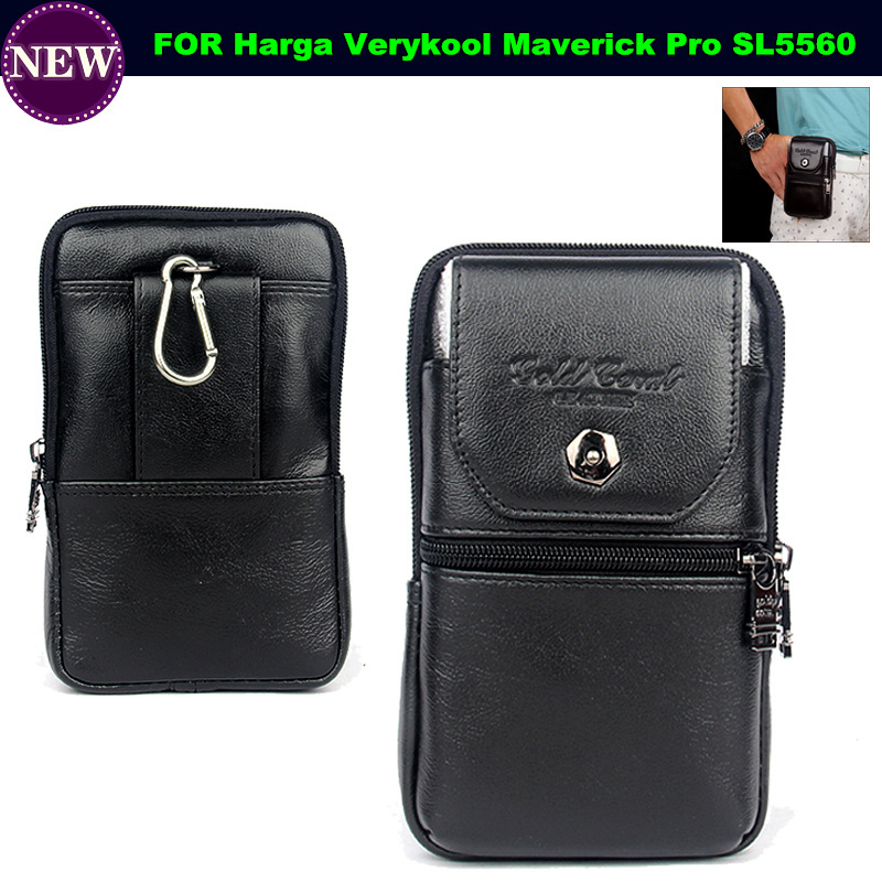 Genuine Leather Carry Belt Clip Pouch Waist Purse Case Cover for Harga Verykool Maverick Pro SL5560 Phone Bag Free Shipping