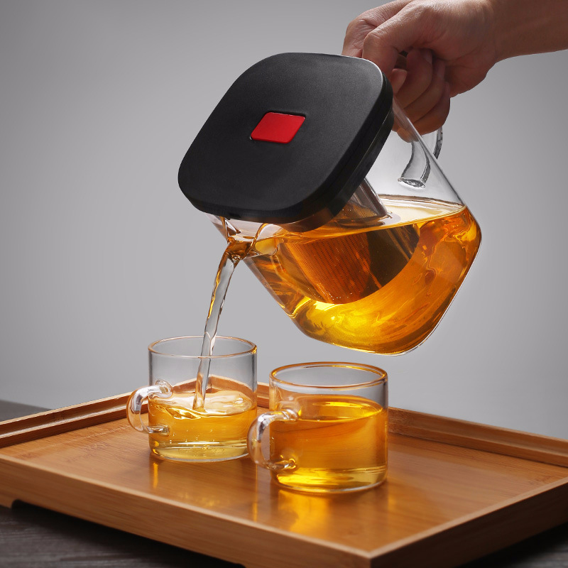 Image 2 - 2Sizes Square Glass Teapot Good Clear Borosilicat With 304 Stainless Steel Infuser Strainer Heat Tea coffee Pot Set Kettle ToolTeapots   -
