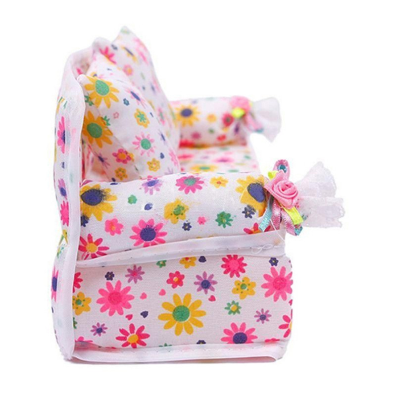 Mini Dollhouse Furniture Flower Soft Sofa Couch With 2 Cushions For Doll House Accessories New