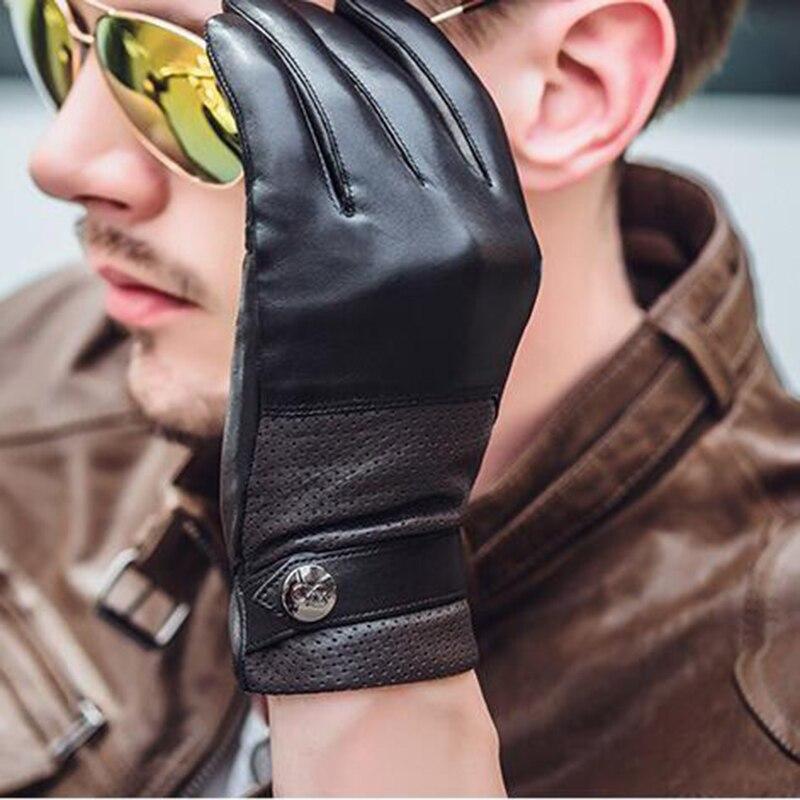 Genuine Leather Gloves Men Velvet Breathable Hole Belt Winter Plus  Thermal Cold-Proof Driving Sheepskin Glove NM770-5