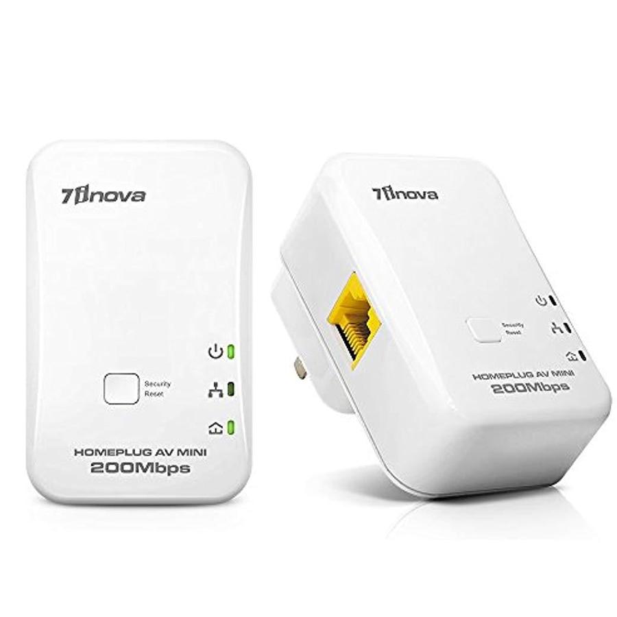 Original 7inova 2X 200Mbps Mini Homeplug Network Extender AV Powerline Adapter Kit Ethernet