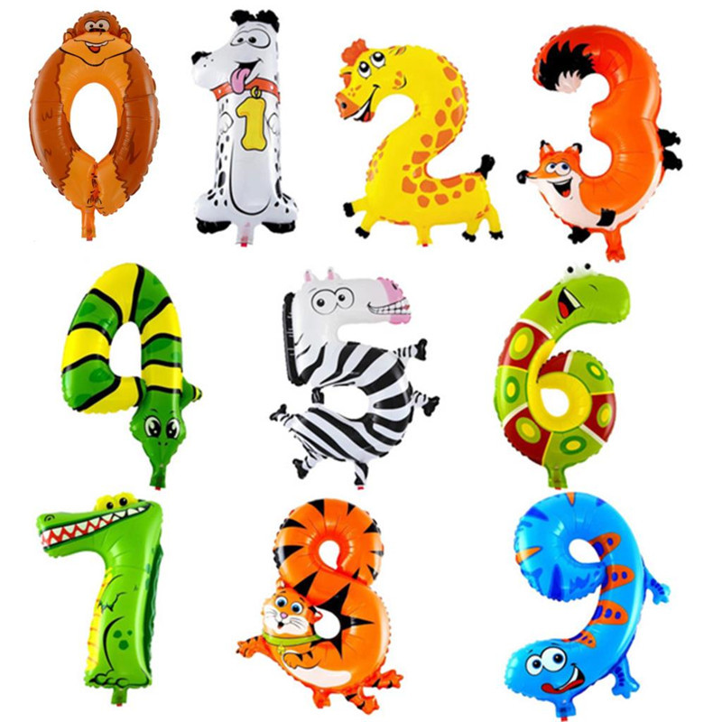 Fashion 1 Pc 16 inch Hot Fashion 0-9 Lovely Inflatable Cartoon Animal Number Foil Balloo ...