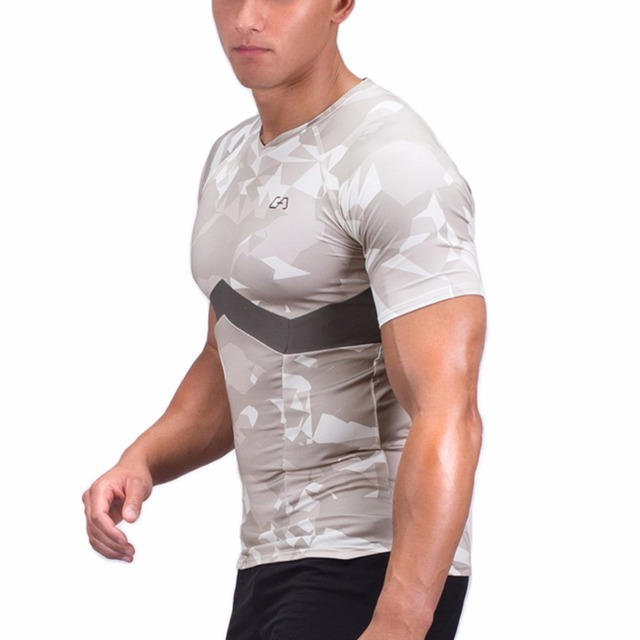 2017 MEN T-SHIRT performance fit size M-XXL ploygon grey O-Neck short-sleevefitness functional wear quick-drying