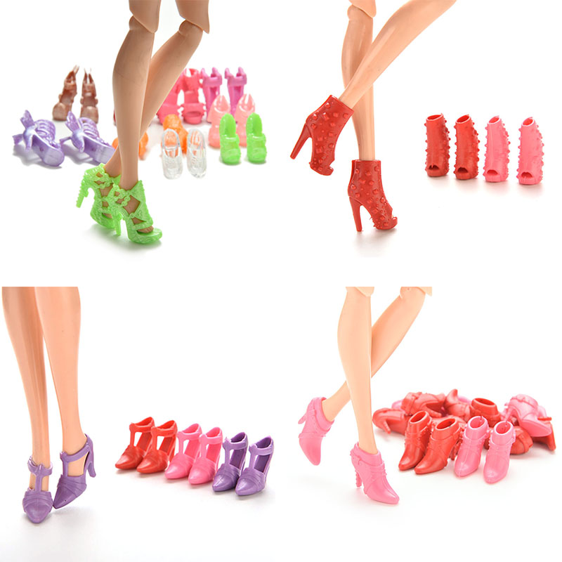 Wholesale 20Pcs/Lot Color Random Fashion Fixed Styles Doll Shoes Bandage Bow High Heel Sandals for Barbie Dolls Accessories Toys centaur no bow bandage 14x30