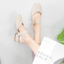Liren 2019 Summer New Casual Lady Comfortable Buckle Slippers Round Wrapped Toe Flat Square Heels Fashion Women