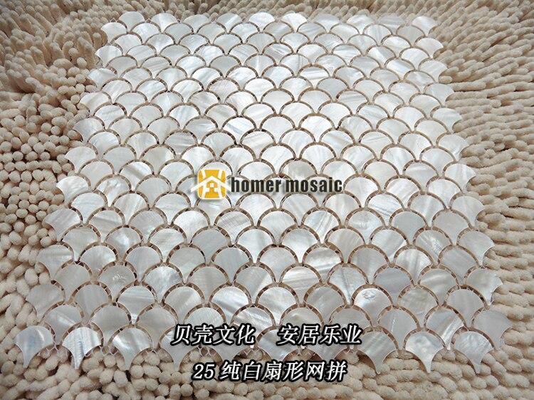Pescado blanco puro Shell mosaico azulejos ventilador fregona nácar ...