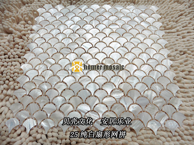 Buy fish scale pure white shell mosaic for Fish scale backsplash