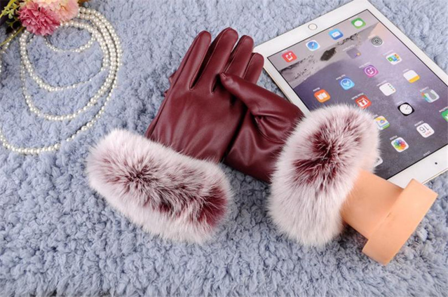 Women's Gloves Free Ostrich 2019 Woman Lady Black Pu Leather Gloves Autumn Winter Warm Rabbit Fur Female Gloves Guanti Invernali Donna B0140