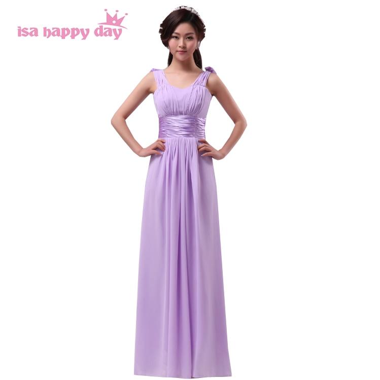 1302178117 Estilos diferentes mezclados largo elegante una línea vestido formal luz  violeta púrpura criada de Las Novias Vestidos de gasa para invitados de  boda H2434