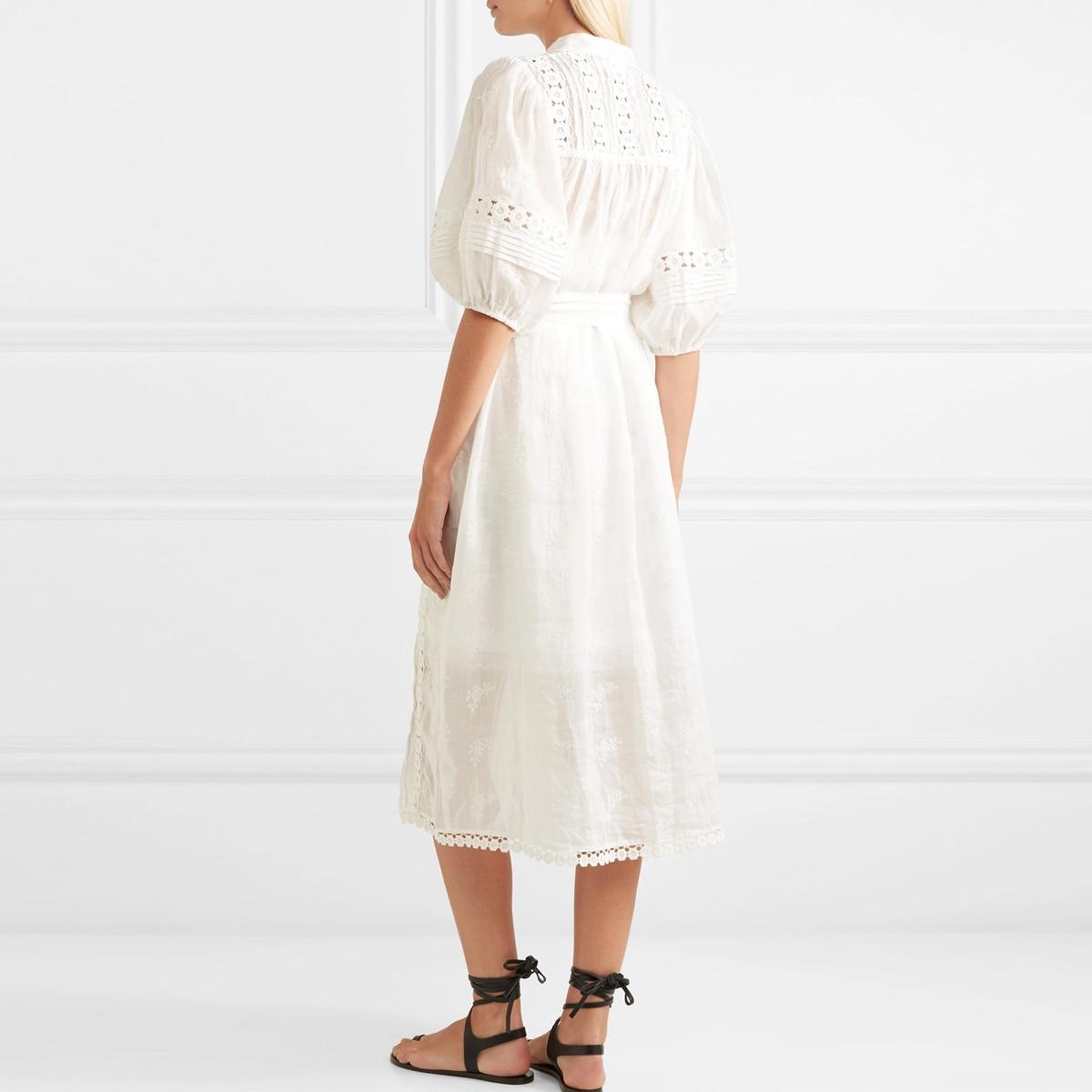 Jastie 2018 Spring Autumn Women Dress Crochet Floral Embroidered Midi Dress Tie Belt Waist Casual Boho Hippie Casual Dresses